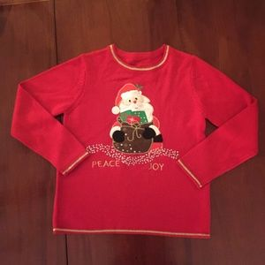 Sweaters - Santa Peace Joy Red Ugly Christmas Sweater Small